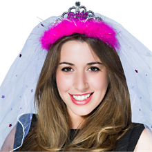 Hot Pink Bride to Be Tiara with Veil