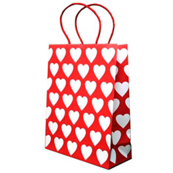 Red Gift Bag With White Hearts - 24x19.5x8.5cm 1