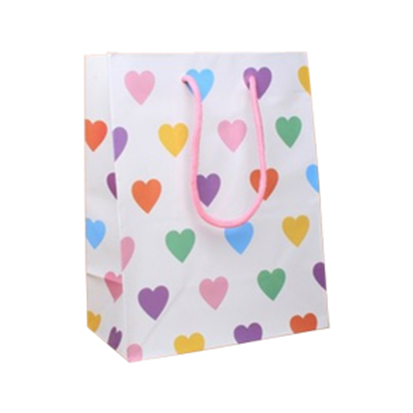 White Gift Bags With Hearts - 23x18x10cm 1