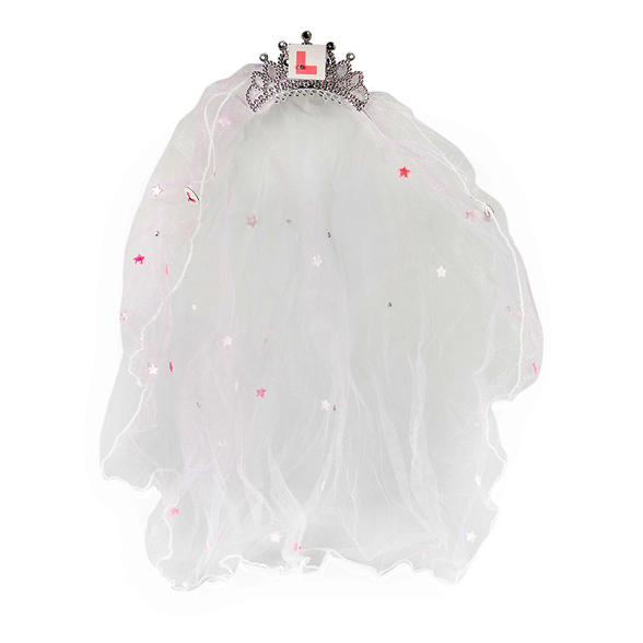 White Wedding Veil with L Plate Comb 1