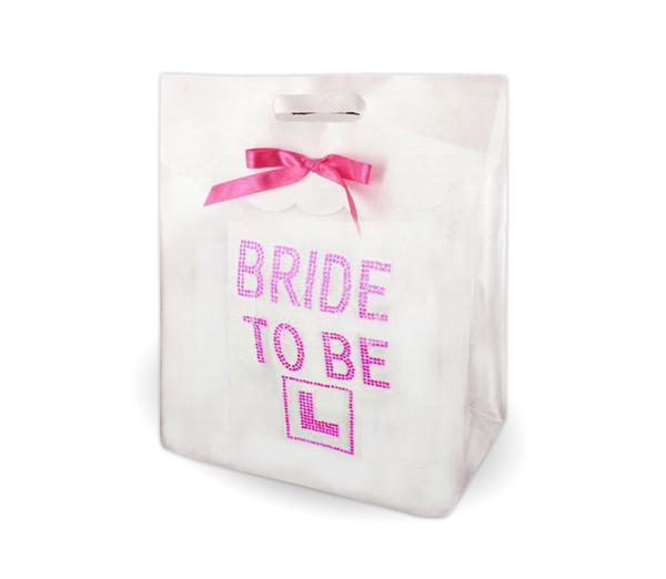 White Diamante Bride To Be Gift Bag 1
