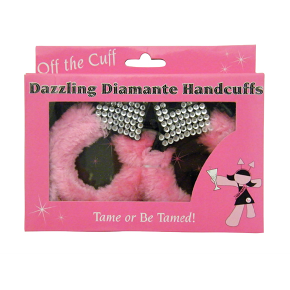 Fluffy Pink Diamante Handcuffs 1