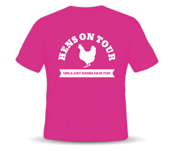 """Hens On Tour"" Pink T-shirt 1"