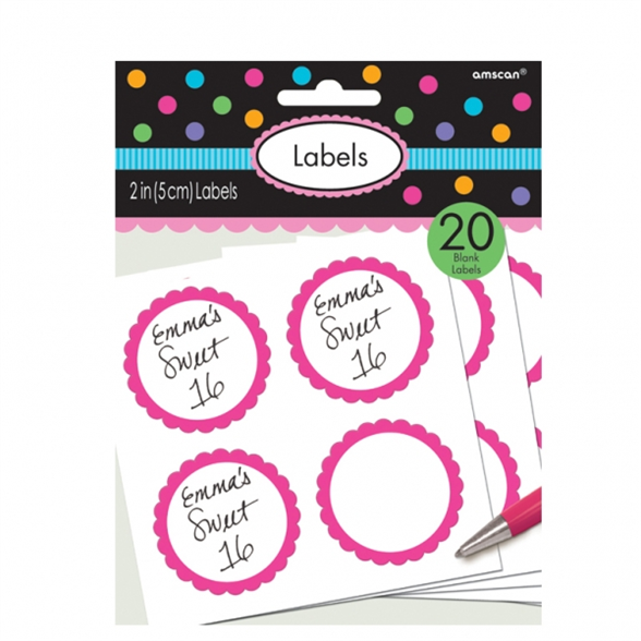 Candy Buffet Scalloped Labels Bright Pink (5 Labels Sheets) 1