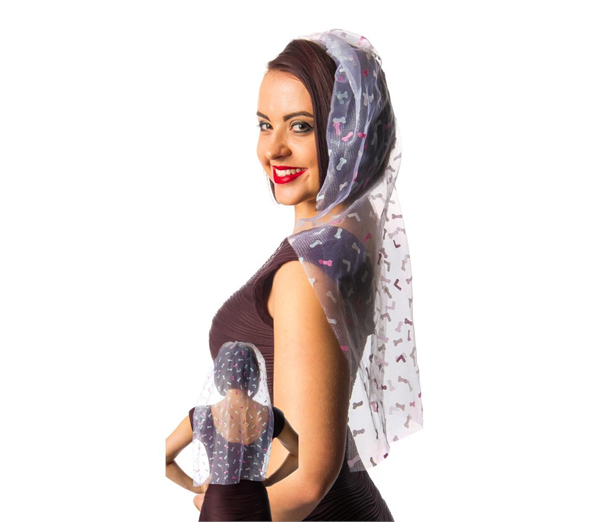 Bride to Be Veil with Printed Willies 1
