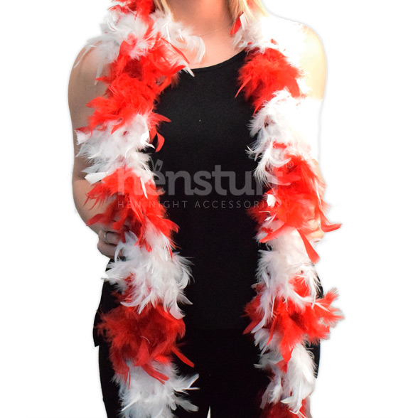 Red & White Soft Feather Boa 1