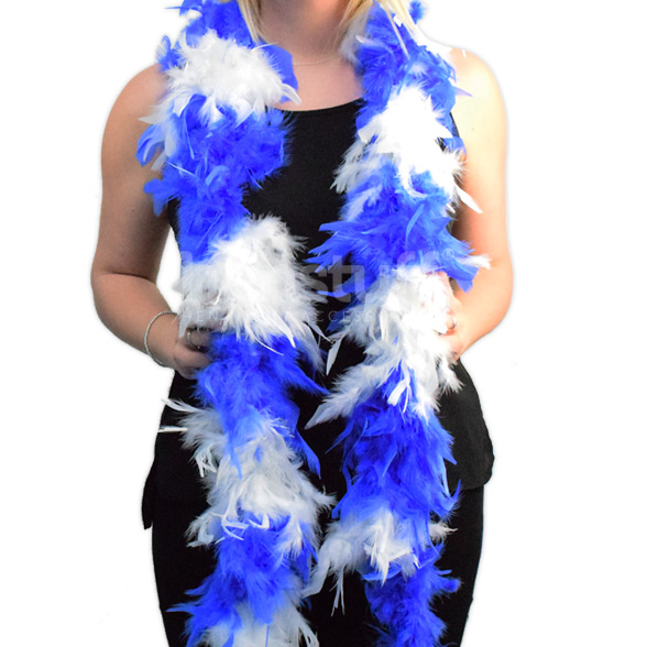 Blue & White Soft Feather Boa 1