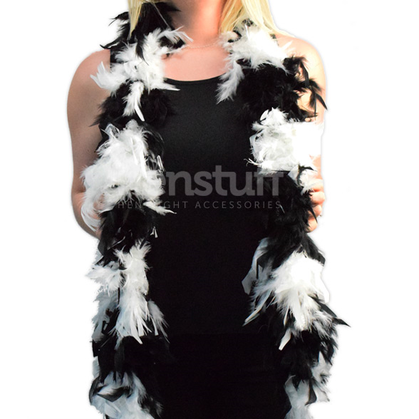 Black & White Soft Feather Boa 1