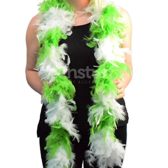 Green & White Soft Feather Boa 1