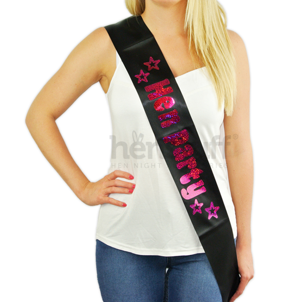 Black Hen Party Sash with Hot Pink Foil 1