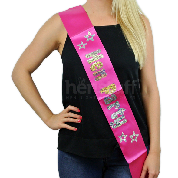 Pink Hen Party Sash with Silver Foil 1