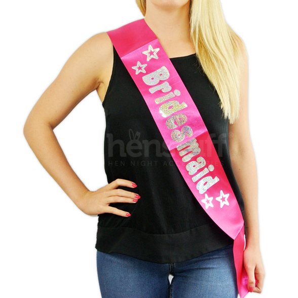Pink Bridesmaid Sash with Silver Foil 1