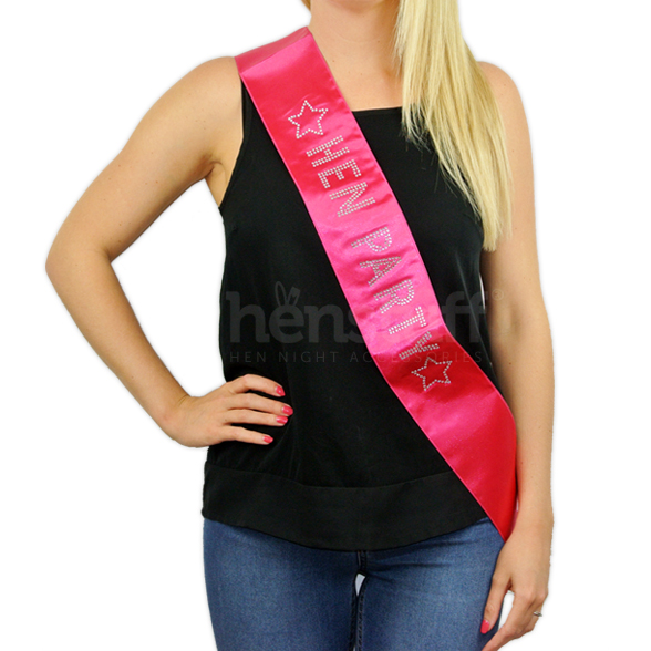 Hot Pink Hen Party Sash with Diamante 1