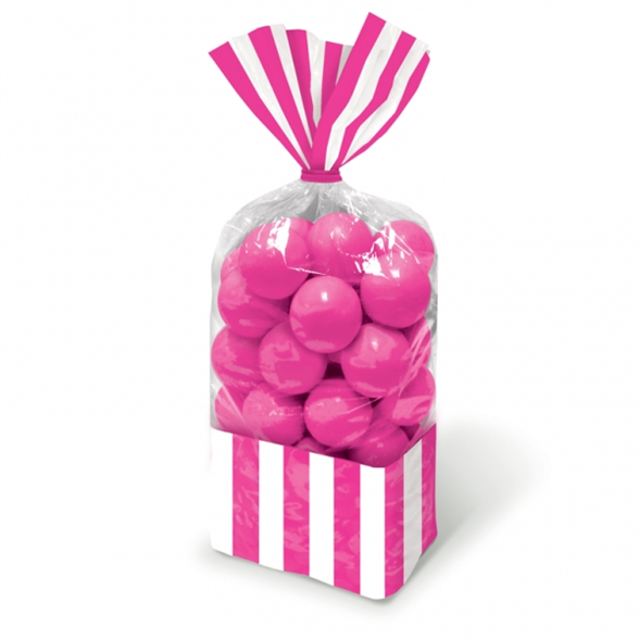 Candy Buffet Striped Party Bags Bright Pink (10 Pack) 1