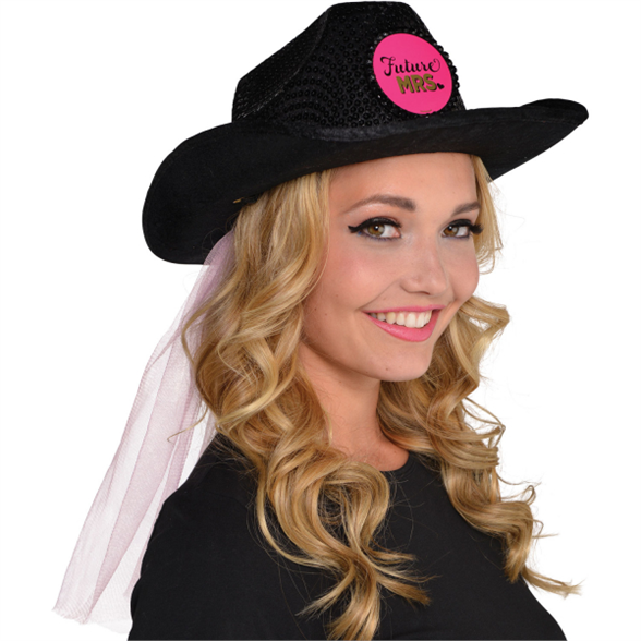 Hen Party Cowboy Hat with Veil 1