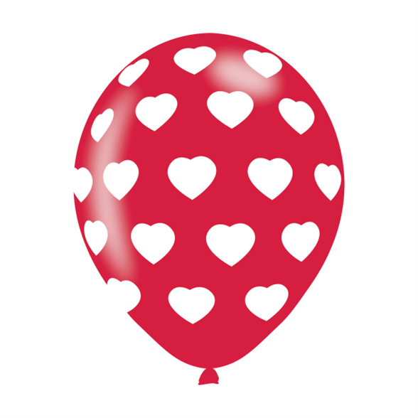 Polka Hearts White On Red Latex Balloons - Six Pack 1