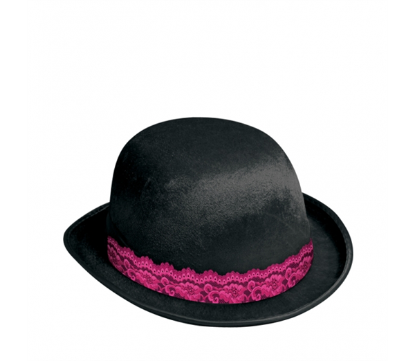 Girl's Night Out Black Bowler Hat with Lace 1