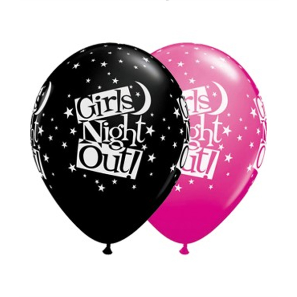 Pink Or Black Girls Night Out Latex Balloon (Single) 1