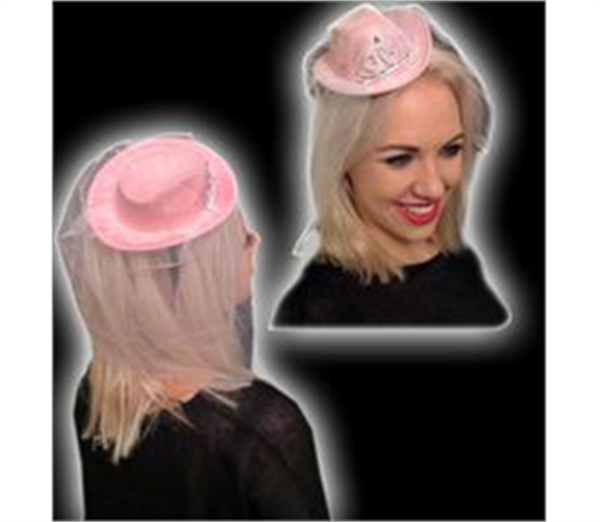Mini Pink Cowboy Hat with Veil 2