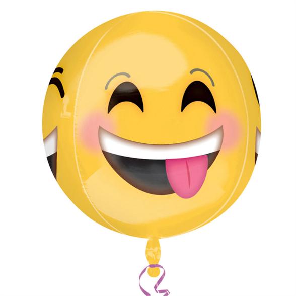 "Winking Smiley Orbz Foil Balloon 15""/38cm w x 16""/40cm h 2"