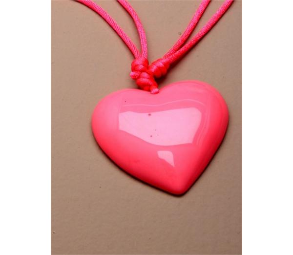 Large Neon Heart Pendant Necklace 3
