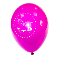 Hen Night Pink and Black Balloons (6 Pack)