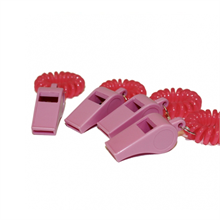 Pink Plastic Whistles 4 Pack