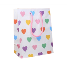 White Gift Bags With Hearts - 23x18x10cm