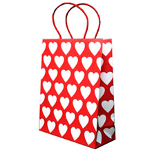 Red Gift Bag With White Hearts - 24x19.5x8.5cm