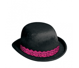 Girl's Night Out Black Bowler Hat with Lace