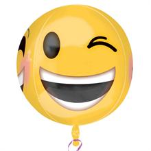 "Winking Smiley Orbz Foil Balloon 15""/38cm w x 16""/40cm h"