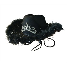Cowboy Hat With Feather & Tiara
