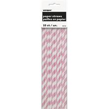 Pink Stripe Paper Straws (10 Pack)