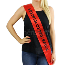 "Red Sash - ""Mother Of The Bride"" Black Text"