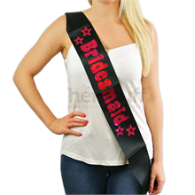 Black Bridesmaid Sash with Hot Pink Foil