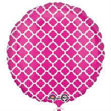 Pink & White Quatrefoil Standard Balloon