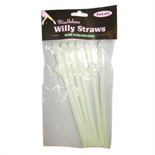 Glow In The Dark Willy Straw (6 Pack)