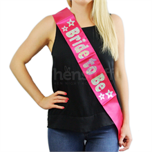 Pink Bride to be Sash with Silver Foil